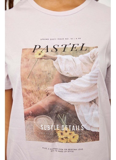 Setre Ekru Kısa Kol Baskılı T-Shirt Lila